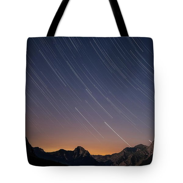 Star Trails Over The Apuan Alps Tote Bag