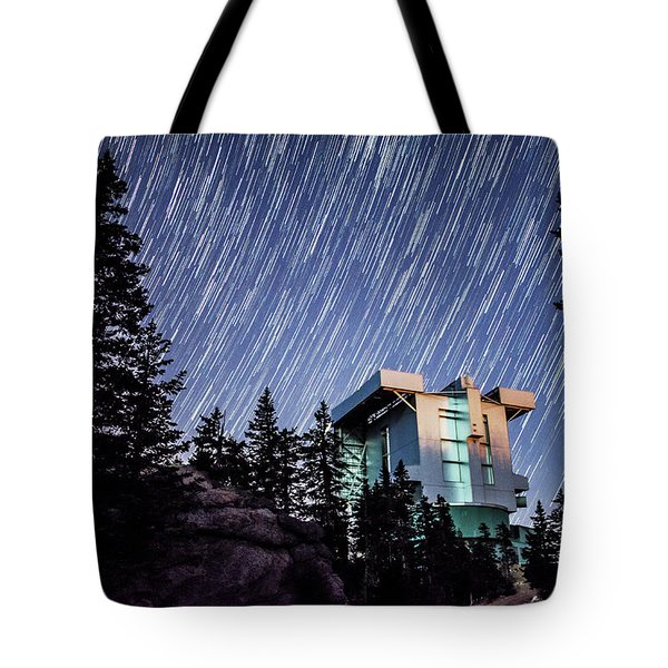 Star Trails Over The Large Binocular Telescope Tote Bag