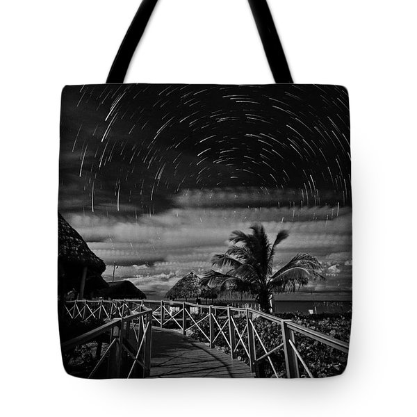 Star Trails Over Tropical Beach Tote Bag by Charline Xia