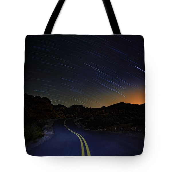 Star Trails Over Valley Of Fire Tote Bag