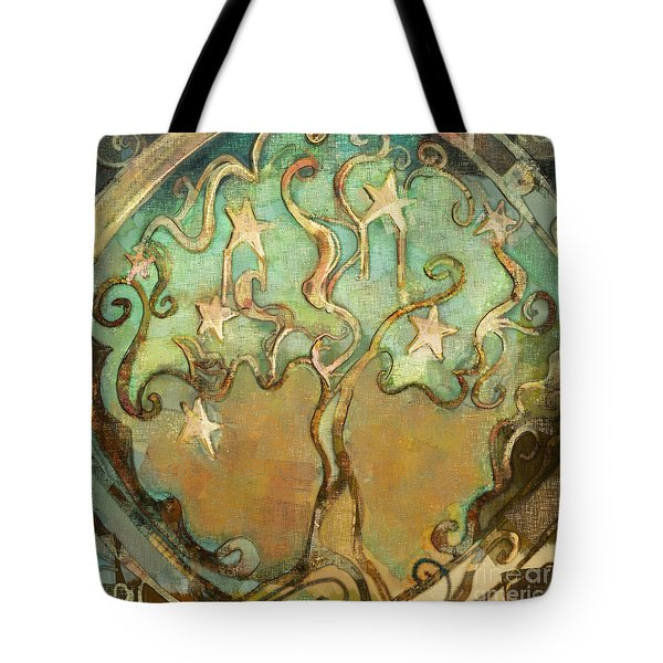 Tote Bag featuring the tapestry - textile Star Tree by Carrie Joy Byrnes