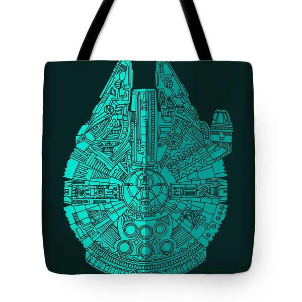 Star Wars Art - Millennium Falcon - Blue 02 Tote Bag