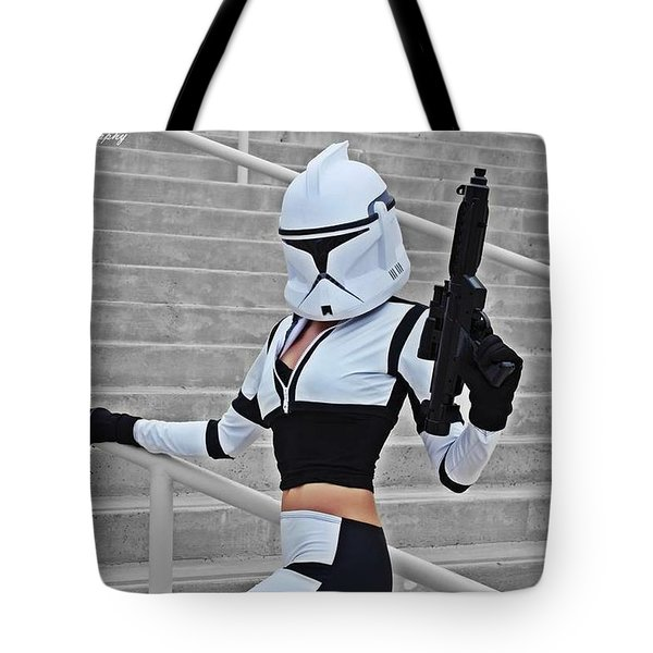 Star Wars By Knight 2000 Photography - Hello Guns Tote Bag by Laura Michelle Corbin