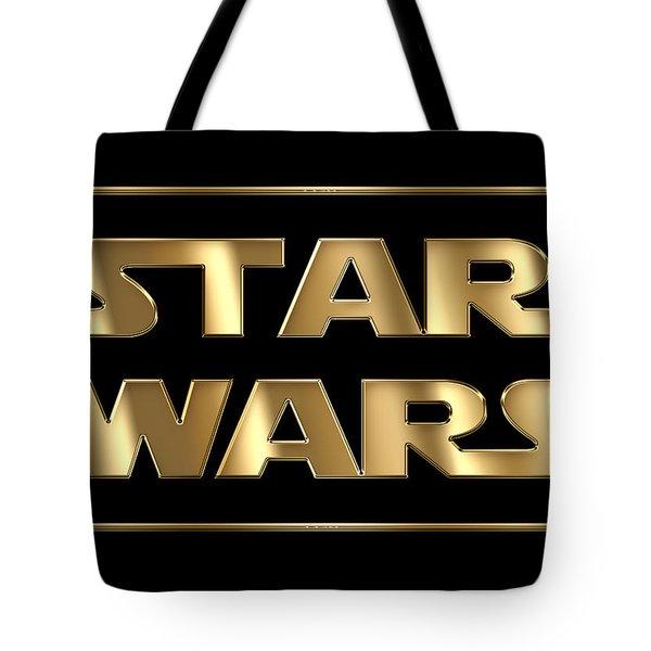 Star Wars Golden Typography On Black Tote Bag