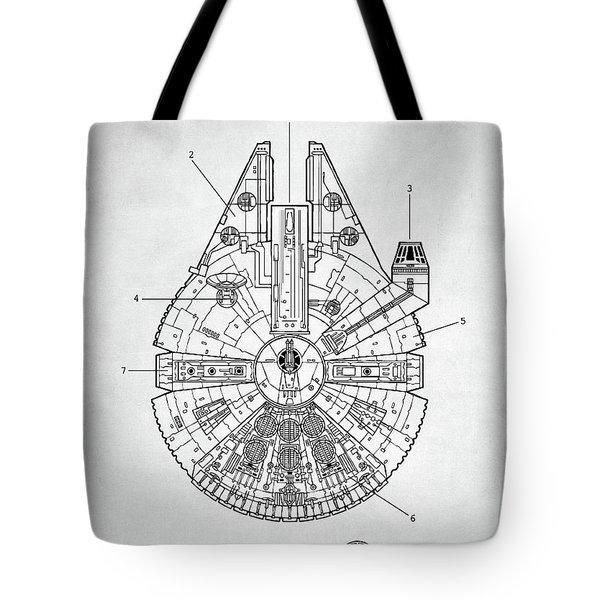 Tote Bag featuring the digital art Star Wars Millennium Falcon Patent by Taylan Apukovska