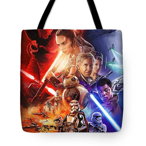 Tote Bag featuring the painting Star Wars The Force Awakens Artwork by Sheraz A