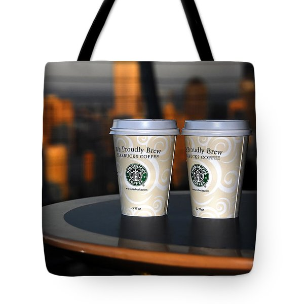 Starbucks At The Top Tote Bag by David Lee Thompson