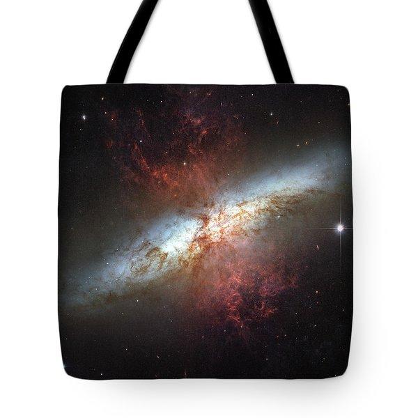Starburst Galaxy, Messier 82 Tote Bag by Stocktrek Images