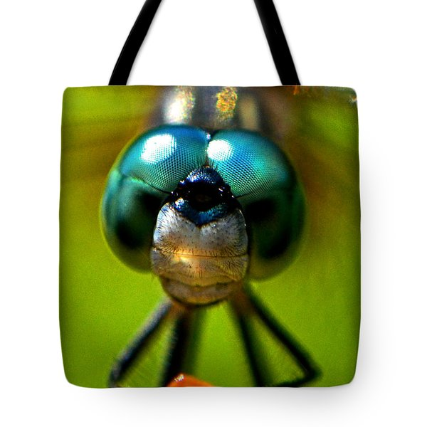 Stare Down With A Dragonfly 001 Tote Bag