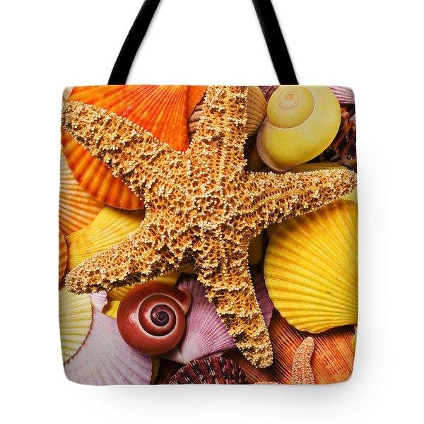 Starfish And Seashells Tote Bag by Garry Gay