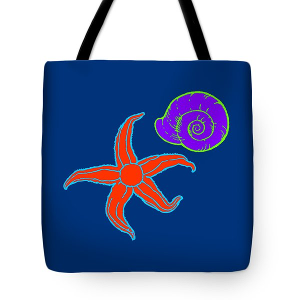 Tote Bag featuring the digital art Starfish And Shell by Jennifer Hotai