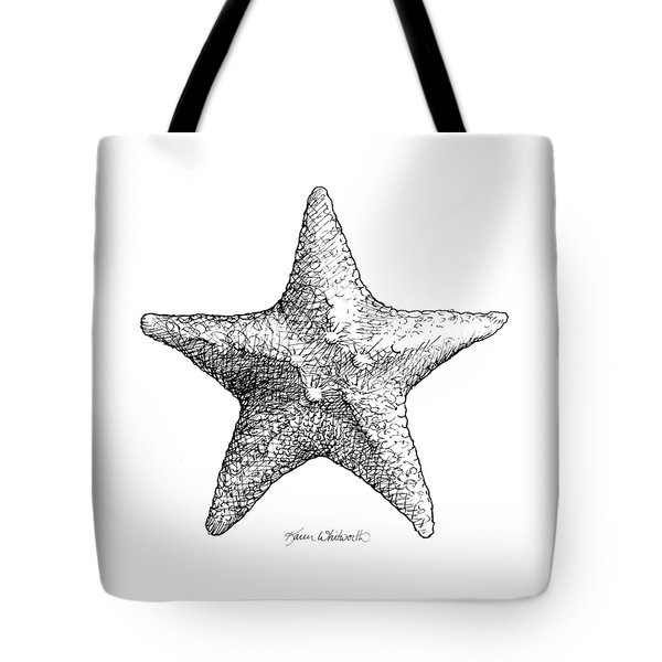 Tote Bag featuring the drawing Starfish Drawing Black And White Sea Star by Karen Whitworth