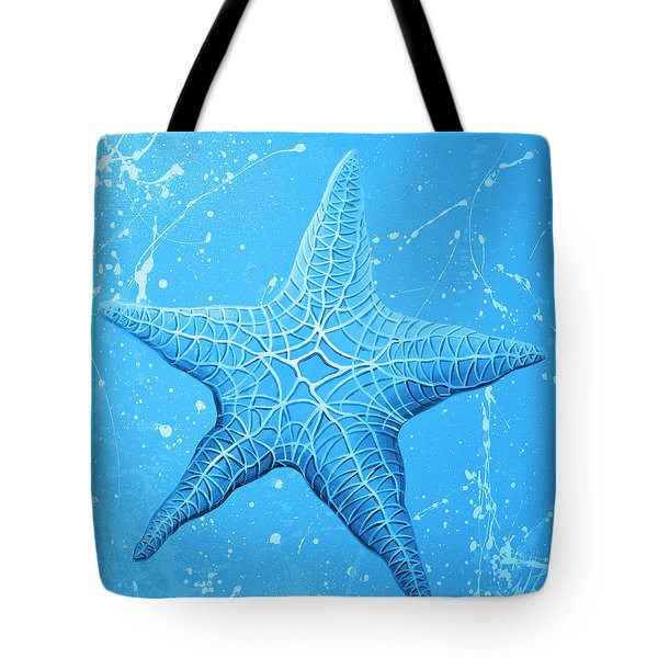 Starfish In Blue Tote Bag