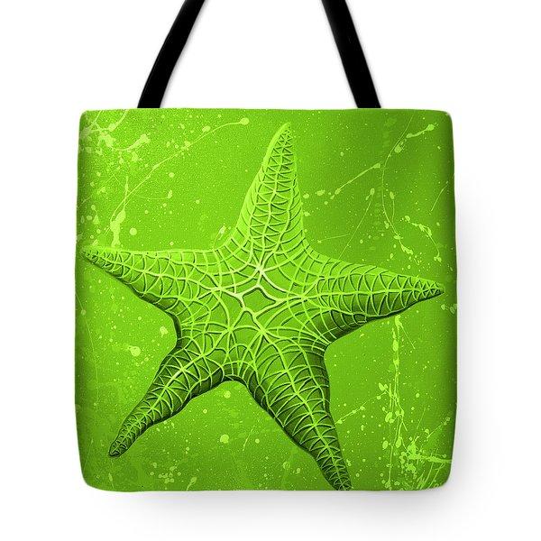 Starfish In Green Tote Bag
