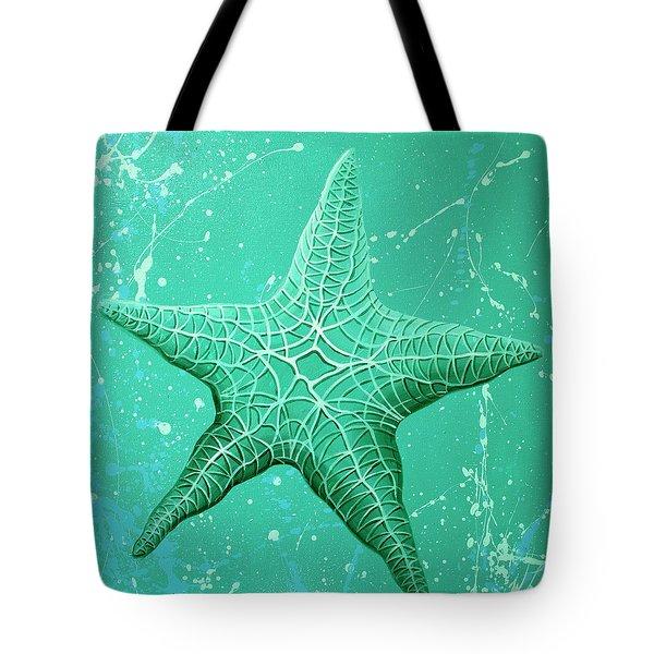 Starfish In Teal Tote Bag