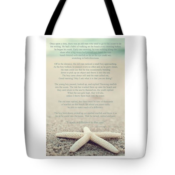 Starfish Make A Difference Vintage Set 1 Tote Bag
