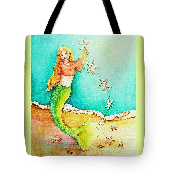 Tote Bag featuring the painting Starfish Mermaid by Patricia Piffath