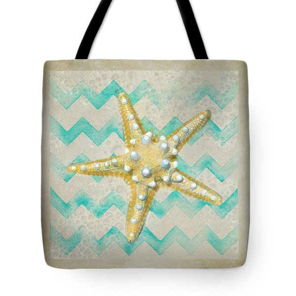 Starfish In Modern Waves Tote Bag