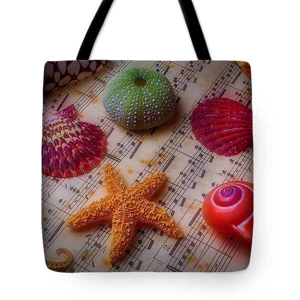 Starfish On Sheet Music Tote Bag