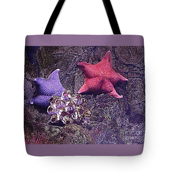 Starfish Pink Starfish Blue Tote Bag by Richard W Linford