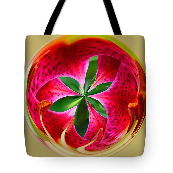 Tote Bag featuring the photograph Stargazer Lily Orb by Bill Barber