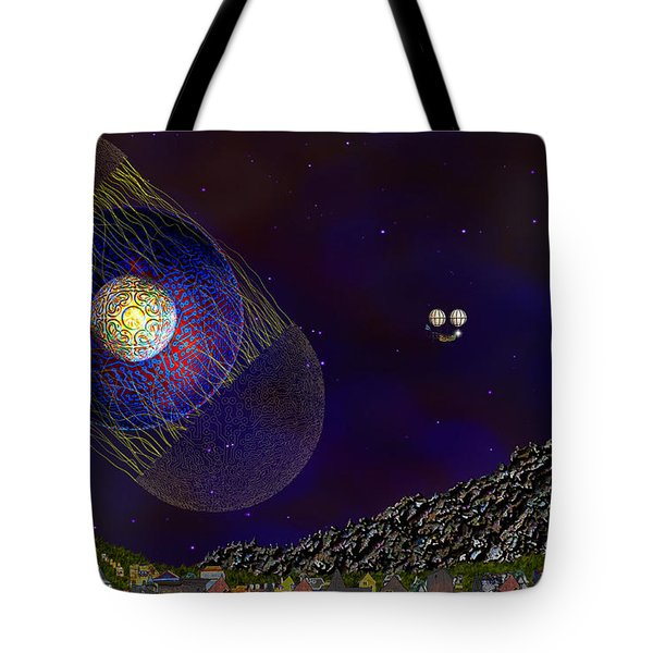 Tote Bag featuring the digital art Stargeist Contact by Iowan Stone-Flowers