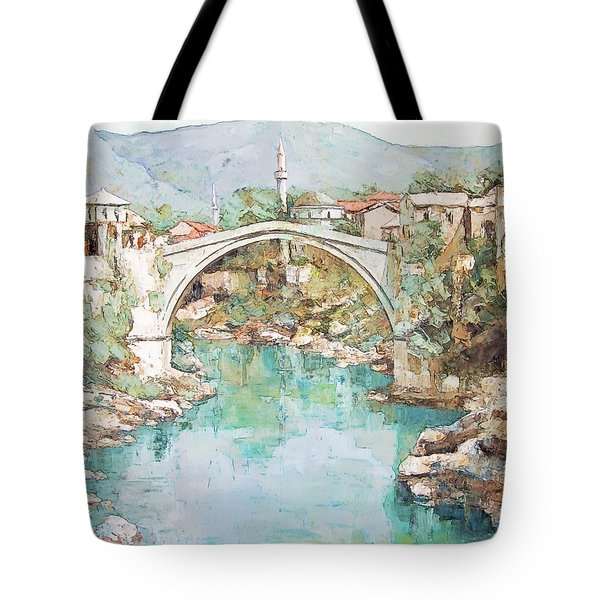 Stari Most Bridge Over The Neretva River In Mostar Bosnia Herzegovina Tote Bag by Joseph Hendrix