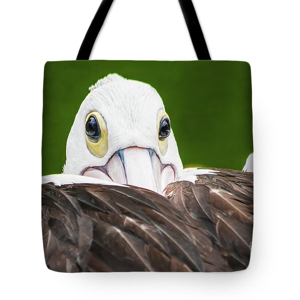 Tote Bag featuring the digital art Staring Pelican by Ray Shiu