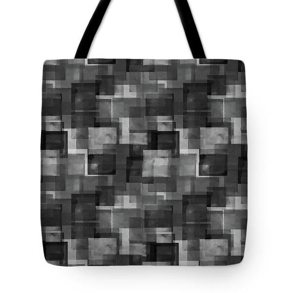 Stark Black Squares Abstract Pattern Tote Bag