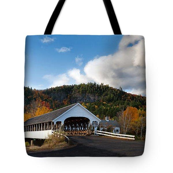 Stark Covered Bridge And Church Tote Bag