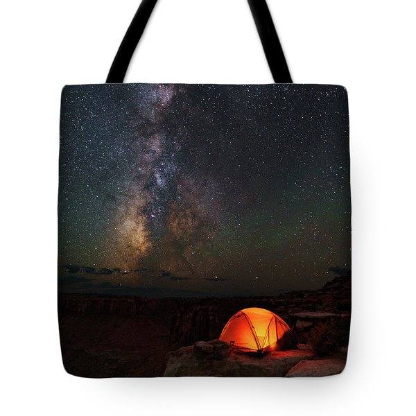 Starlight Camping On The Canyon Edge Tote Bag