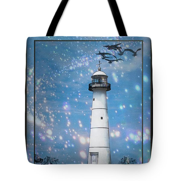 Starlight Lighthouse Tote Bag