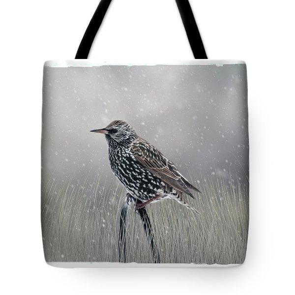 Starling In Winter Tote Bag