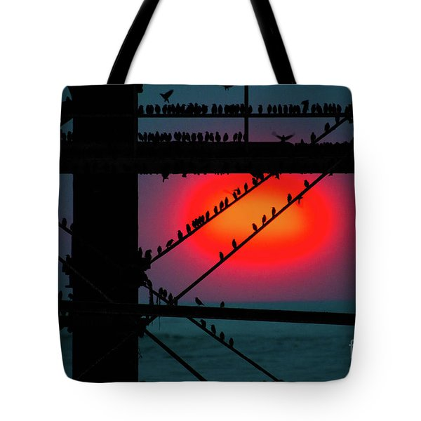 Starlings Against The Setting Sun Tote Bag