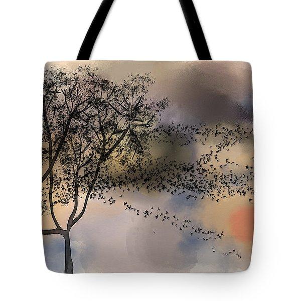 Starlings At Dusk Tote Bag