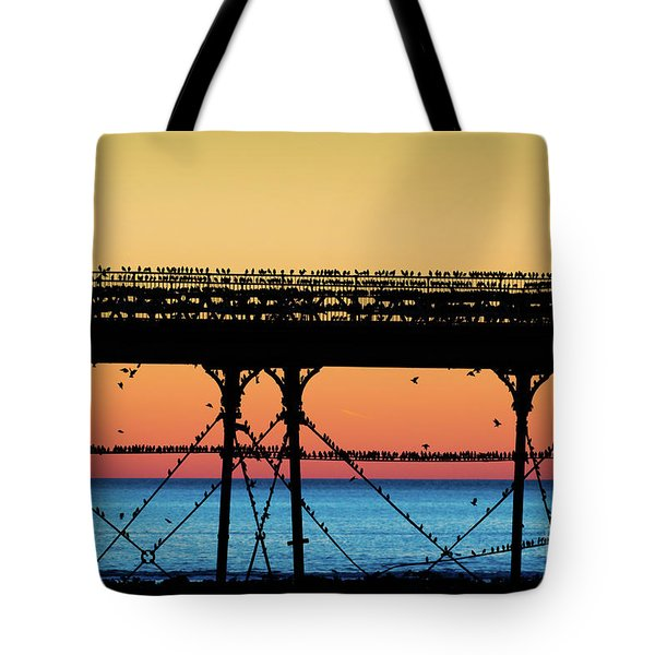 Starlings At Sunset In Aberystwyth Tote Bag