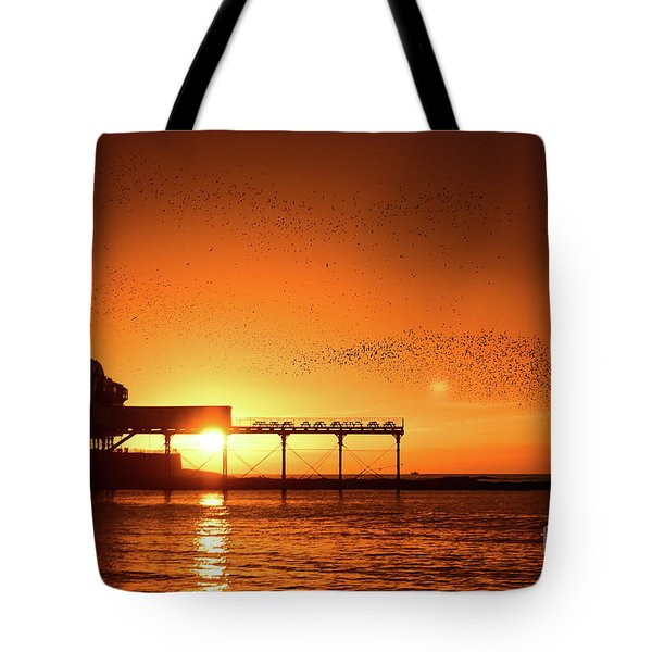 Starlings At Sunset Over Aberystwyth Pier Tote Bag