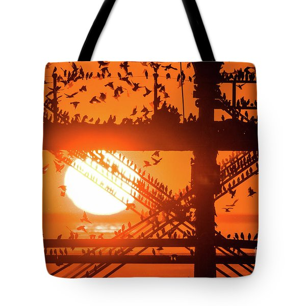Starlings At Sunset Under Aberystwyth Pier Tote Bag