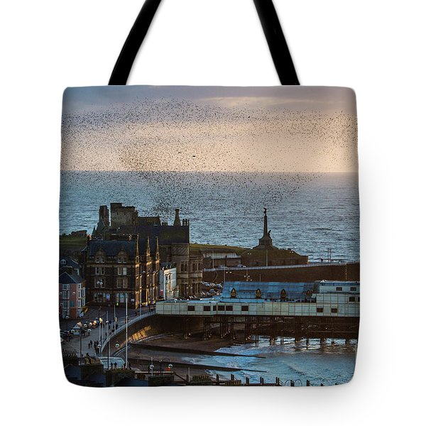 Starlings Over Aberystwyth On The West Wales Coast Tote Bag