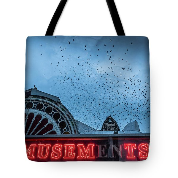 Starlings Over Aberystwyth Royal Pier Tote Bag