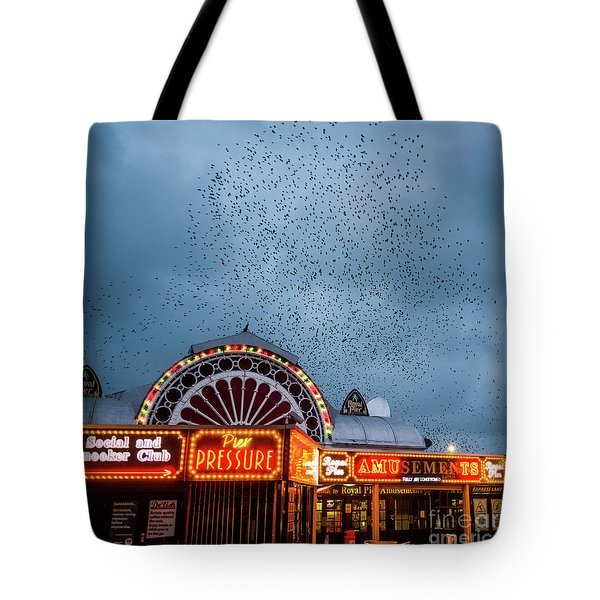 Starlings Over The Neon Lights Of Aberystwyth Pier Tote Bag