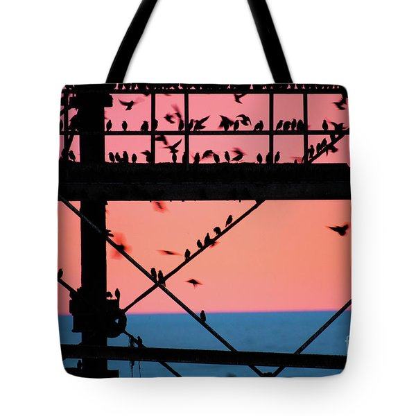 Starlings Under Aberystwyth Pier Tote Bag