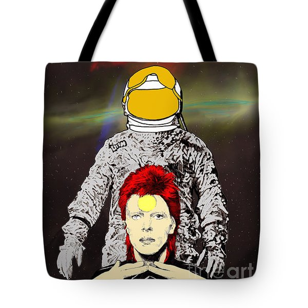 Tote Bag featuring the drawing Starman Bowie by Jason Tricktop Matthews