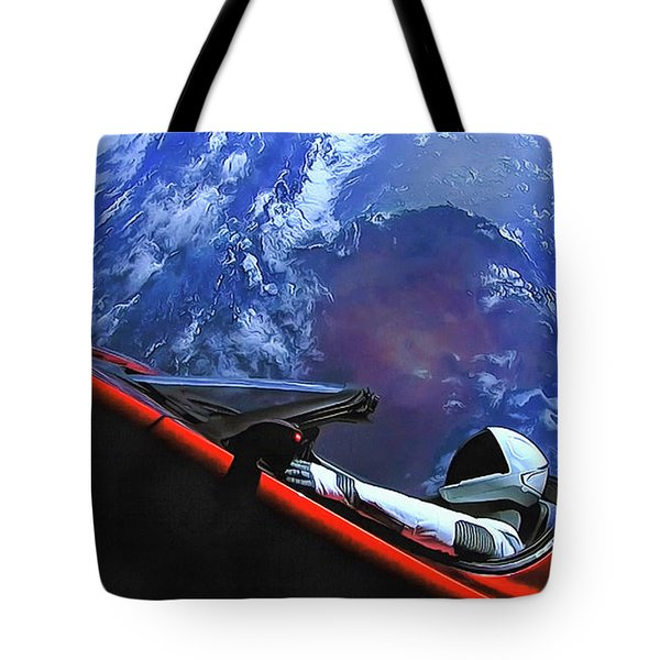 Starman In Tesla With Planet Earth Tote Bag