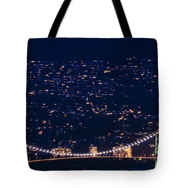 Tote Bag featuring the photograph Starry Lions Gate Bridge - Mdxxxii By Amyn Nasser by Amyn Nasser