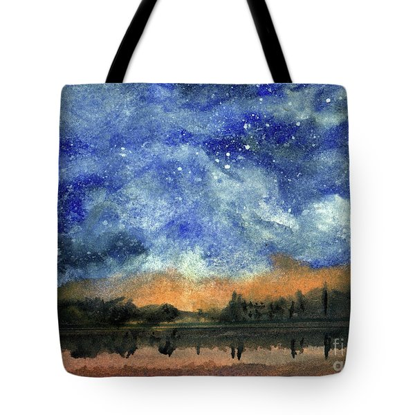 Starry Night Across Our Lake Tote Bag by Randy Sprout