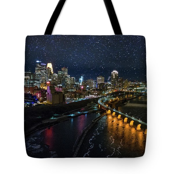 Starry Night In Minneapolis Tote Bag