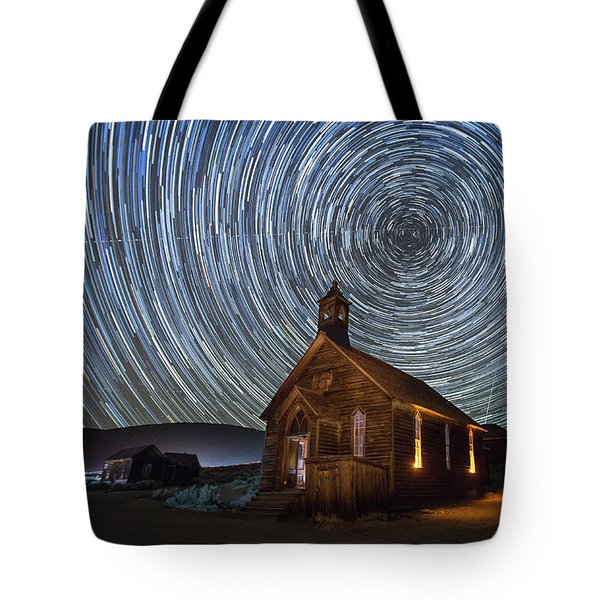 Starry Night Over Bodie Church Tote Bag