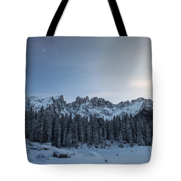 Tote Bag featuring the photograph Starry Night Over Carezza Lake by Yuri Santin