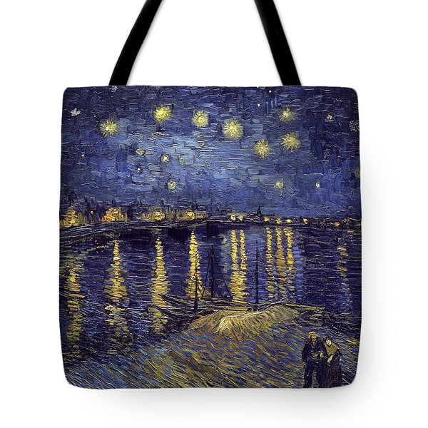 Tote Bag featuring the painting Starry Night Over The Rhone by Van Gogh